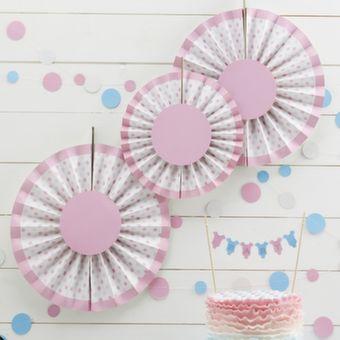 Pink Spotty Fan Decorations