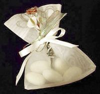 Organdie Bag with Arum Lilies, Rose and Diamante