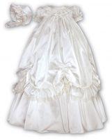 Silk Christening robe and bonnet