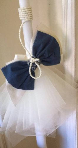 Blue and Ivory Lambatha with Rope Trim