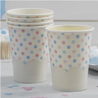 Spotty Paper Cups in Pink and Blue
