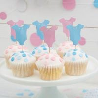 Little Lady or Mini Mister Baby Grow Cupcake Toppers